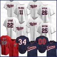 Minnesota Custom Twins 11 Jorge Polanco Baseball Jersey 26 Max Kepler 34 Kirby Puckett 22 Miguel Sano 29 Rod Carew 25 Byron Buxton Donaldson
