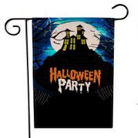 Halloween Lino Yard Garden Bandera Truco Traje Fantasma Feliz Jardín Decoración Banderas para al aire libre Yardas decorativas de doble cara 9 Estilo EWF8789