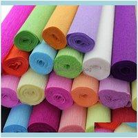 Hediye Wrap Olay Şenlikli Malzemeleri Ev Garden250 * 50 cm Dekoratif Origami Buruşuk Krep Kağıt Zanaat DIY Çiçek Sarma Katlama Scrapbooking G