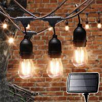 Saiten 10/15 LED Outdoor S14 Patio String Light Garden Market Feiertag Solar Girlande für Pergola Party Cafe Bistro