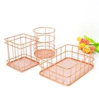 Rose Gold Iron Art Nordic Makeup Organizer Basket Eyeliner Brush Set Storage Cup Dressing Table Cosmetic Box Boxes & Bins