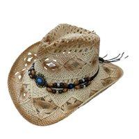 Beading Cowboy Hat Unisex Adult Fashion Summer Hats For Women Men Crochet Straw Cap Outdoor Beach Sun Caps Casquette Gorras 2021
