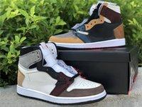 Genuino Jumpman 1 Barba de Hombres Zapatos de baloncesto Yin y Yang Color Color Matching Sports Shoeles Shoebox Tamaño completo 40--46