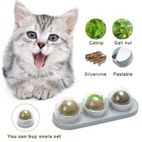 Cat Toys 3Pcs Catnip Ball Set Self-adhesive Rotated Silvervine Lick For Cats Wall Mount Molar Teething Toy Pet Supplies