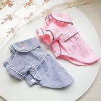 Algodón mascota homewear ropa perro cómodo primavera otoño raya ocio pijamas para perros pequeños caniche gato ropa de ropa de ropa