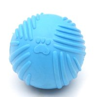 Footprint Rubber Dog Ball Toy Bite Resistant Chew Toy for Small Dogs Puppy Game Play Squeak Interactive Pet Toy DDA6134
