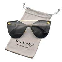 선글라스 2021 고양이 아이 여성 패션 골드 꿀벌 거울 음영 안경 트렌드 무선 태양 안경 UV400