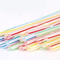 100pcs 21cm Coloré Plastique jetable Curved Pailles de boisson de mariage Barre d'anniversaire de mariage Bar Boire Accessoires W-00866