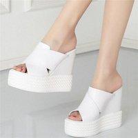 2020 mujeres de cuero genuino cuñas de tacón alto zapatillas femenino de punta abierta de los gladiadores de la plataforma de verano zapatos zapatos casuales H0DO #