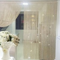 String Curtain Valance Shiny Tassel Line Solid Color Window ...