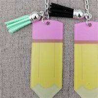 Yaratıcı Öğretmenler Günü Anahtarlık Moda Akrilik Kalem Dangle Charms Anahtarlık Kişiselleştirin Küçük Püskül Anahtarlık Festivali Parti Hediye 378 K2