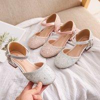여자 2021 봄과 여름 새로운 아기 한국 스타일 크리스탈 공주 신발 어린 소녀 폐쇄 발가락 패션 어린이 하이힐 샌들