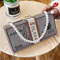 Stack Of Cash Crystals Women Money Evening Clutch Bags Diamond Painting Chain Wedding Dinner Purses And Handbags Luxury Designer