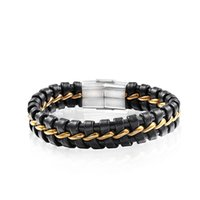 Charm Bracelets RIR Black Red Genuine Leather Stainless Steel Wristband Men's Bracelet Bangle With Gold Wire