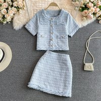2021 Summer new design women's o-neck short sleeve tweed woolen coat and a-line skirt 2 pcs dress twinset suit ML