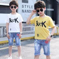Children Clothes Summer Baby Boys Sports Suit White T-shirt & Blue Jeans Pants 2 Pcs Tracksuit Kids 2019 Toddler Clothing Set
