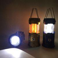 Luz de camping solar recargable al aire libre impermeable de la tienda de la tienda de la tienda de la tela de emergencia de la iluminación de la lámpara de la linterna USB Linterna portátil
