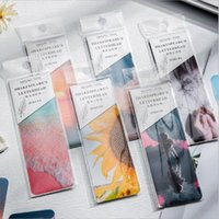 Bookmark 1set Indexes Message Card Stationery PET Paper Reading Book Mark Dusk Flower Forest Moon
