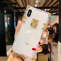 Designer Fashion Square Clear Phone Cels Caselli Bling Metallo Copertura di cristallo Copertura protettiva per iPhone 13 12 11 Pro Max XR XS 8 7 6 Plus