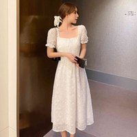 Dantel Elbise Yaz Bayanlar Fransız Mizaç Kare Yaka Boynuz Kısa Kollu Ince Orta Uzunlukta Dantel Gevşek Bel Güzel 210515