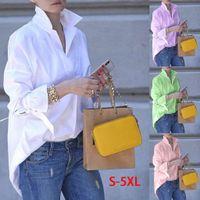 Spring Women Long Sleeve Casual Lapel Top Shirt 2021 Fashion Plain Print Blouse Tops Blouses Womens Clothing