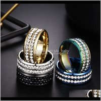 Band Jewelry Style Two Rows Crystal Stainless Steel Diamond Rings Engagement Wedding Ring For Women Men Fashion Jewery Drop Delivery 2021 C7