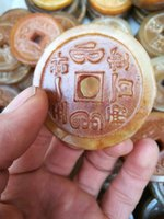 Chinese rare old handCarved 100% Jade coin KANGXI mark