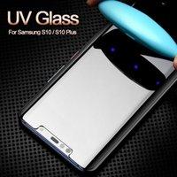 3D Curved Full Glue UV Liquid Tempered Glass Adhesive Screen Protector For Samsung S20 ultra S10 S9 Plus S10e Note 10 9 Light High Sensitive Unlock Fingerprint