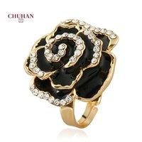 Küme Yüzükler Chuhan Yüksek Kalite Exquisite Özel Hediye Yağı Damlama Gül Yüzük Yaratıcı Ayarlanabilir Alaşım Çiçek C14
