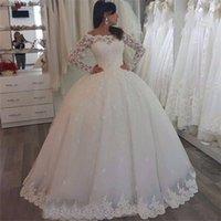 New Arrive Ball Gown Lace Applique Floor-length Zipper Bridal Gowns Custom Long Sleeve Bateay Sheer Neck Wedding Dresses