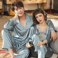 Пара Silk Pajamas Pajamas набор женские спящие одежды с длинным рукавом Pijama атласная домашняя одежда мужская ампульс женщин спать 2шт loungewear plus