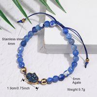 Luxury Natural Stone Agate Bead Druzy Charm Bracelet for Women Handmade Fatima Hamsa Hand Beads Braided Bracelets with Card Jew
