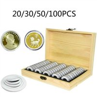 Pine Wood Coin Holder Coins Ring Wooden Storage Box 20 30 50 100pcs Coin Capsules Accommodate Collectible Commemorative Coin Box 210626