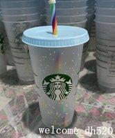 Starbucks Mermaid Goddess 24oz 710ml Plastic Mugs Tumbler Reusable Straw Milk Tea Cold Water Snow Cups 100pcs Free DHL
