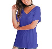 Tshirts Summer Loose Short Sleeve Tops Female V Neck Panelled Clothes with Pocket Womens Designer Fashion