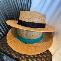 Women Straw Panama Hat Fedora Beach Sun Hat Wide Brim Straw Roll up Hat UPF 30+