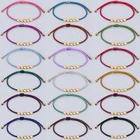 Neweat Tibetan Bracelets Handmade Woven Red String Link Bangle Creative 5 Irregular Copper Bead Black Strings Pull Bracelet