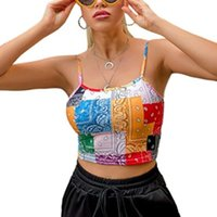 Women's Color Blocking Sling Tops, Sleeveless Low Neck Fashion Printing Bustier, Short Vest Clothes For Summer Tanks & Camis