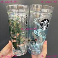 580ml 머그잔 Starbucks Doubel Layer 유리 물 커피 우유 컵 선물 제품 친구를위한 도착
