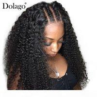 250% Yoğunluk Derin Kıvırcık Dantel Ön İnsan Saç Peruk Kadınlar Için Brezilyalı 13x6 Dantel Ön Peruk Tutkalsız Siyah Uzun Dolago Remy