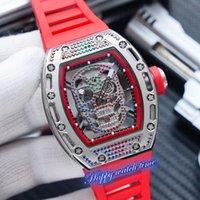 أعلى نسخة RM-052 ساعات الهيكل العظمي الهاتفي الفضة الماس حالة اليابان miyota حركة التلقائي الأحمر المطاط حزام مصمم العلامة التجارية رجل ووتش