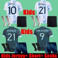태국 2021 아르헨티나 키즈 축구 유니폼 반바지 양말 전체 유니폼 세트 키트 22 22 아르헨티나 어린이 Dybala Kun Aguero Messi Copa America Football Shirts