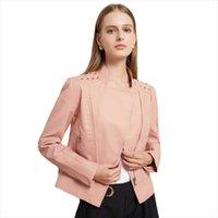 Women's Leather & Faux Spring Autumn Women Jacket Ladies Solid With Belt Zipper Biker Coat Female Casual Outwear
