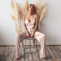 Cuello en V Hilof Efen Camisón Pijamas Set Camisa Femenina Juego de 2 piezas Riega de dos piezas Longitud completa Hogar Broek para mujeres Nightmares 2021