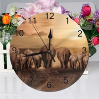 Wall Clocks 25CM Clock Elephant Animal Numeral Digital Dial Mute Silent Non-ticking Electronic Battery Operated For Bedroom