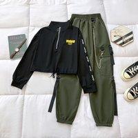 Women's Two Piece Pants Women Streetwear Harajuku Pant Chain Females Sets Cargo Buckle Ribbon Pocket Jogger 2 Suit