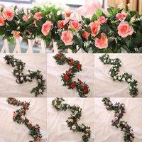 Decorative Flowers & Wreaths 2.5m 8.2ft Artificial Flower Silk Rose Leaf Garland Vine Ivy Wedding Garden Halloween Christmas Deoration