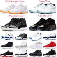 Air Jordan Retor 11s Hommes Basketball Chaussures Low WMNS Brillant Citrus Brillant 25e anniversaire Cap et robe Concord 45 Space Confiture Mens femmes Jorden 11 Sports Sneakers