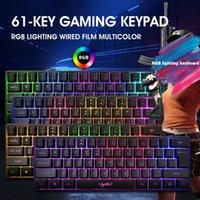 Kablolu RGB Aydınlatma Oyun Klavye HXSJ V700 61 Tuşlar Ofis Bakımı Bilgisayar Malzemeleri Masaüstü Dizüstü PC Aksesuarları için Klavye