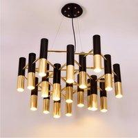 Delightfull Ike svart och guld metall aluminium rör ljuskrona lampa Italien modern design suspension ljus för dinning restaurang